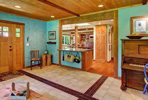 Craftsman Entryway with limestone floors, Glass panel door, Exposed beam, interior wallpaper