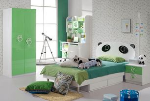 Contemporary Kids Bedroom with Concrete floors, interior wallpaper, Built-in bookshelf