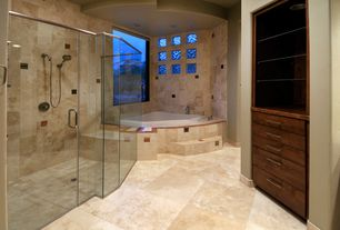 Craftsman Master Bathroom with Natural stone floor and wall tile, Handheld showerhead, Built-in bookshelf, Master bathroom