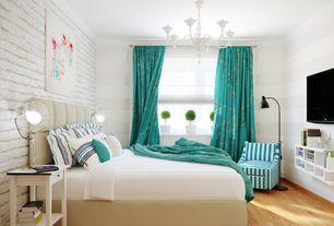 Contemporary Master Bedroom with Lj home 8karma faux-cotton grommet window panels (set of 2), Built-in bookshelf, Chandelier