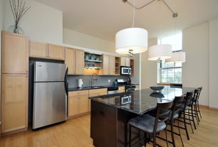 Contemporary Kitchen with Pendant light, Paint 2, dishwasher, Freestanding Full Size Top Freezer Refrigerator, Breakfast bar