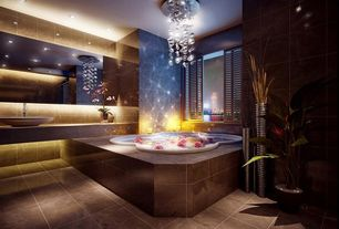 Contemporary Hot Tub with simple marble tile floors, Chandelier, Built-in bookshelf