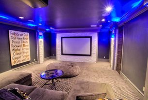 Traditional Home Theater with Carpet, Ht market sableframe fixed frame projector screen, Crown molding