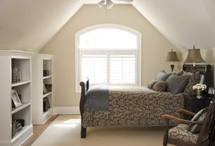 Traditional Guest Bedroom with Built-in bookshelf, Neutral area rug, Arched window, Paint 2, Wood blinds, Paint 1, Casement