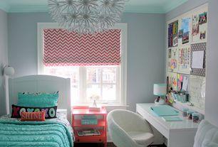 Contemporary Kids Bedroom with Crown molding, Art desk, Built-in bookshelf, Wall sconce, Standard height, Chandelier