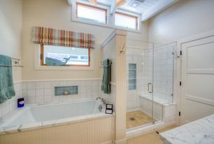 Cottage Master Bathroom with frameless showerdoor, 1/4 in. x 4 ft. x 8 ft. MDF Wainscot Panel, Complex marble counters
