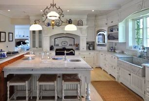 Traditional Kitchen with Exposed beam, Pizza oven, Complex marble counters, Laminate floors, U-shaped, Glass panel, Casement