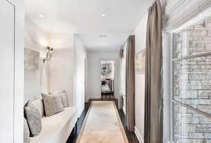 Contemporary Hallway with Hardwood floors, Wall sconce