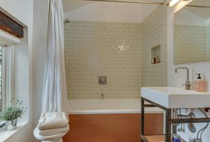Contemporary Full Bathroom with shower bath combo, Casement, wall-mounted above mirror bathroom light, Hardwood floors