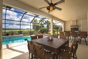 Tropical Porch with Skylight, picture window, Transom window, exterior concrete tile floors, exterior tile floors