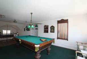 Traditional Game Room with Carpet, Pendant light