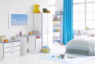 Contemporary Kids Bedroom with no bedroom feature, Concrete floors, Built-in bookshelf, High ceiling, Casement
