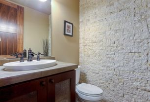 Contemporary Powder Room with Limestone Tile, stone tile counters, full backsplash, Powder room, Flush, Paint, drop-in sink