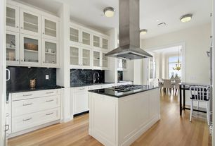 Contemporary Kitchen with Kitchen island, Undermount sink, Hardwood floors, full backsplash, Complex Granite, Glass panel