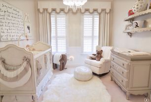 Contemporary Kids Bedroom with Casement, Paint, Window cornice, Restoration hardware adele crib, Built-in bookshelf, Carpet