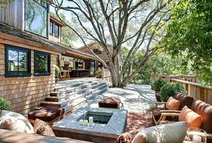Cottage Deck with Seascape Pillow, exterior brick floors, Fire pit, French doors, Outdoor kitchen, Teak Veranda Ottoman