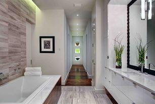 Contemporary Master Bathroom with Hardwood floors, European Cabinets, Master bathroom, Undermount sink, Flush