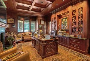 Traditional Home Office with Fireplace, Wood paneling, Oriental rug, Built-in bookshelf, stone fireplace, Hardwood floors
