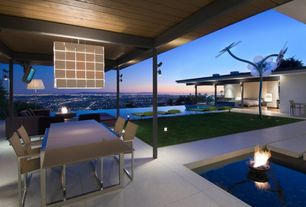Contemporary Patio with exterior stone floors, Pathway