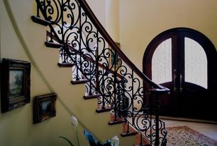 Traditional Entryway with High ceiling, Bay Area Stair Custom Iron Railing and Balusters, French doors