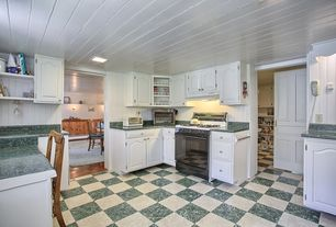 Cottage Kitchen with Standard height, Custom hood, Halo 3 in. recessed square baffle trim, Simple granite counters, gas range