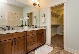 Craftsman Master Bathroom with Stained cabinetry, Undermount sink, Simple granite counters, Granite countertop, Flush