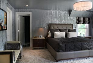 Contemporary Master Bedroom with interior wallpaper, Carpet, Chandelier