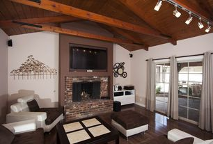 Craftsman Living Room with Exposed beam, brick fireplace, Hardwood floors, sliding glass door, Fireplace, flush light