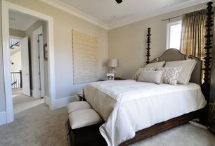 Traditional Guest Bedroom with Ceiling fan, Standard height, can lights, Casement, Carpet, Crown molding