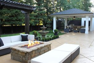 Traditional Patio with Porta Forma Mercer Double Armless Chair with Cushions, Outdoor kitchen, Gazebo, Fire pit, Fence