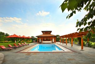 Asian Swimming Pool with Leisure season cypress garden arbor, Premium 9 ft. outdoor umbrella in tuscan orange with stand
