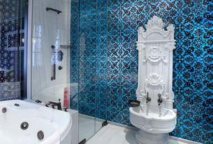 Eclectic Master Bathroom with Pedestal sink, Rain shower, picture window, Bathtub, frameless showerdoor, Standard height