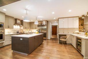 Contemporary Kitchen with Wine refrigerator, Pendant light, Flush, flush light, European Cabinets, Kitchen island, U-shaped