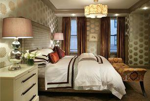 Contemporary Master Bedroom with interior wallpaper, Pendant light, Built-in bookshelf, Carpet, Crown molding