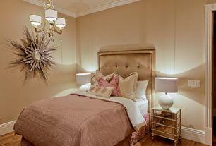 Art Deco Guest Bedroom with Harlow hollywood regency antique mirror 3 drawer nightstand, Hardwood floors, Crown molding