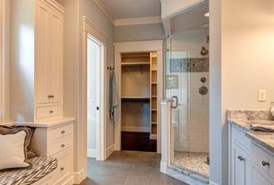 Traditional 3/4 Bathroom with stone tile floors, European Cabinets, Subway Tile, Standard height, Flat panel cabinets, Paint