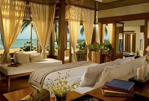 Tropical Master Bedroom with specialty door, Laminate floors, Yellow linen good quality long or short window curtains