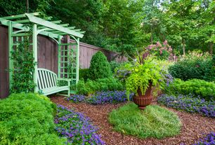 Traditional Landscape/Yard with Pathway, Arbor, Raised beds, Fence