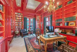 Traditional Home Office with Built-in bookshelf, sandstone tile floors, Crown molding, French doors, Chandelier, Exposed beam