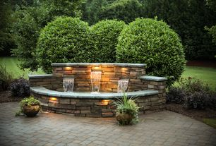 Traditional Landscape/Yard with Concrete pavers, Coronado 100 Sq. Ft. Cape Cod Grey Dry Stack Stone Veneer Flats, Fountain