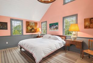 Country Master Bedroom with Hardwood floors, Chandelier, High ceiling, double-hung window, picture window, Wainscotting