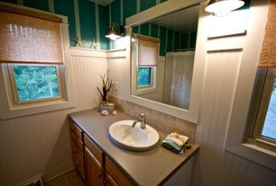 Cottage Full Bathroom with MS international tumbled travertine tile 4x4 in tuscany walnut, Wall sconce, Quartz counters