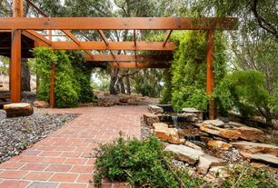 Traditional Landscape/Yard with Pond, Trellis, Pathway