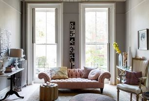 Contemporary Living Room with Restoration Hardware Vintage french Flare Back Chair, Hardwood floors, French Cafe Table
