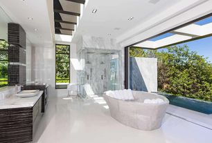 Modern Master Bathroom with Arizona Tile, Montclair White, Marble, Handheld showerhead, Master bathroom, frameless showerdoor