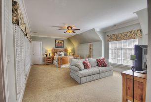Traditional Master Bedroom with Casement, Carpet, Ceiling fan, specialty door, Standard height, Crown molding