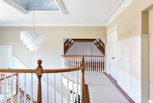 Contemporary Hallway with Standard height, Hardwood floors, Wainscotting, Crown molding, Paint