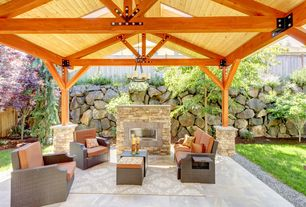 Contemporary Patio with Gazebo, Outdoor kitchen, Raised beds, Dash and Albert Rugs Hooked Scroll Grey Geometric Rug, Fence
