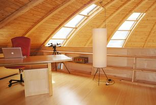 Contemporary Home Office with Exposed beam, Standard height, Skylight, Laminate floors, Built-in bookshelf