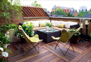 Traditional Deck with Crate & barrel ventura coffee table, Ipe wood based 24 x 24 smooth deck tiles